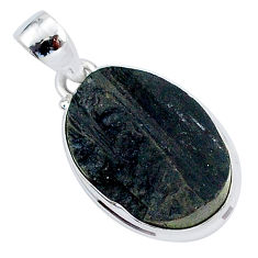 925 sterling silver 15.65cts natural black tourmaline raw oval pendant r96757
