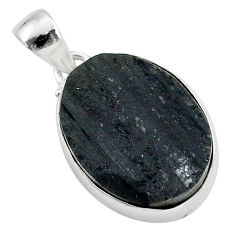 925 sterling silver 18.15cts natural black tourmaline raw pendant r96738