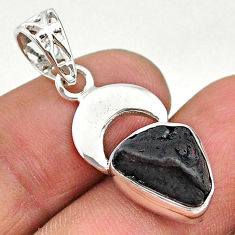 925 sterling silver 4.84cts natural black tourmaline raw pendant t20851