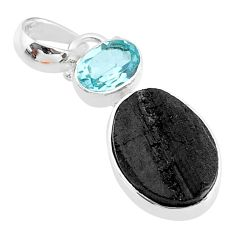 925 sterling silver 7.13cts natural black tourmaline raw topaz pendant t9766