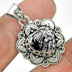 925 sterling silver 5.38cts natural black tourmaline rutile heart pendant t56156