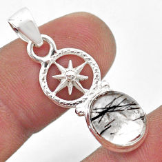 925 sterling silver 4.18cts natural black tourmaline rutile oval pendant t45494