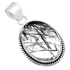 925 sterling silver 18.15cts natural black tourmaline rutile oval pendant t53903