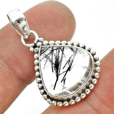 925 sterling silver 10.41cts natural black tourmaline rutile pear pendant t53320