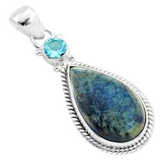 925 sterling silver 14.72cts natural black vivianite blue topaz pendant r94245