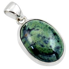 925 sterling silver 15.65cts natural black vivianite oval pendant jewelry r39984