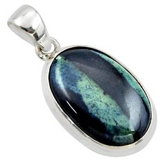 925 sterling silver 16.18cts natural black vivianite oval pendant jewelry r39993