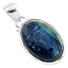 925 sterling silver 10.65cts natural black vivianite oval pendant jewelry r94253
