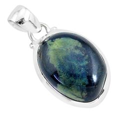 925 sterling silver 13.15cts natural black vivianite oval pendant jewelry r94259