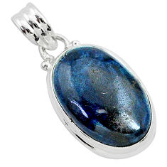 925 sterling silver 13.15cts natural black vivianite oval pendant jewelry r94904
