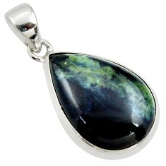 925 sterling silver 15.65cts natural black vivianite pear pendant jewelry r39988