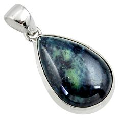 925 sterling silver 15.08cts natural black vivianite pear pendant jewelry r40000