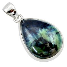 925 sterling silver 17.57cts natural black vivianite pear pendant jewelry r40003