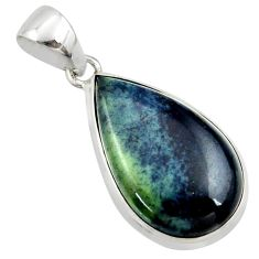 925 sterling silver 16.20cts natural black vivianite pear pendant jewelry r40005