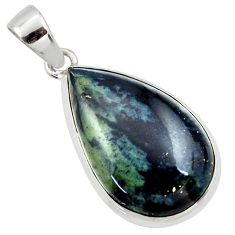 925 sterling silver 18.15cts natural black vivianite pear pendant jewelry r40016