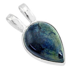 925 sterling silver 11.73cts natural black vivianite pear pendant jewelry r94256