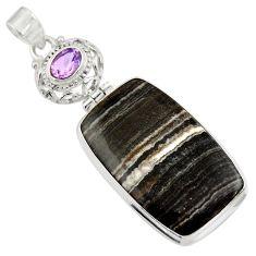 Clearance Sale- 925 sterling silver 26.70cts natural black zebra jasper amethyst pendant d41866