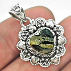 925 sterling silver 5.16cts natural black zebra jasper heart pendant t56214