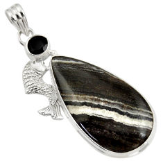 Clearance Sale- 925 sterling silver 25.71cts natural black zebra jasper onyx fish pendant d41869