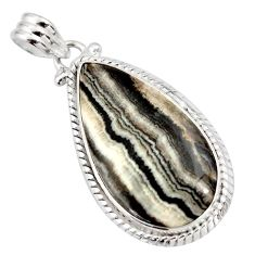 Clearance Sale- 925 sterling silver 19.72cts natural black zebra jasper pear pendant d41857