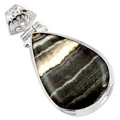 925 sterling silver 17.57cts natural black zebra jasper pendant jewelry d41860