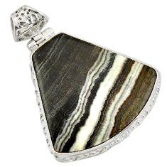 Clearance Sale- 925 sterling silver 25.00cts natural black zebra jasper pendant jewelry d41875