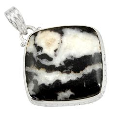 Clearance Sale- 925 sterling silver 28.06cts natural black zebra jasper pendant jewelry d42199