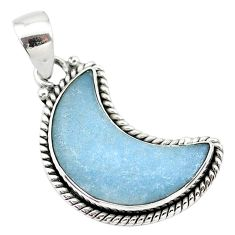 925 sterling silver 12.72cts natural blue angelite fancy moon pendant t21991