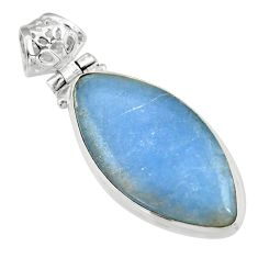 925 sterling silver 17.42cts natural blue angelite marquise pendant r19628