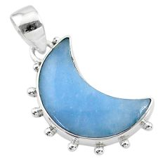 925 sterling silver 9.68cts natural blue angelite moon pendant t21819
