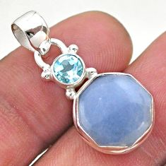 925 sterling silver 6.25cts natural blue angelite topaz hexagon pendant t46496