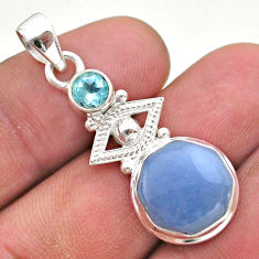 925 sterling silver 6.10cts natural blue angelite topaz pendant jewelry t46404