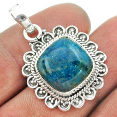 925 sterling silver 13.28cts natural blue apatite (madagascar) pendant t53276
