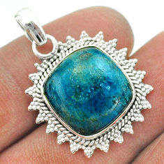 925 sterling silver 12.83cts natural blue apatite (madagascar) pendant t53279