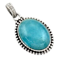 925 sterling silver 17.22cts natural blue aquamarine oval pendant jewelry d45512