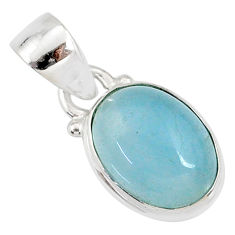 925 sterling silver 4.50cts natural blue aquamarine oval pendant jewelry r78304