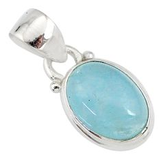 925 sterling silver 3.84cts natural blue aquamarine oval pendant jewelry r78307