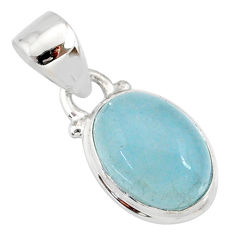 925 sterling silver 3.81cts natural blue aquamarine oval pendant jewelry r78310