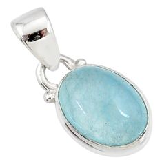 925 sterling silver 4.50cts natural blue aquamarine oval pendant jewelry r78328
