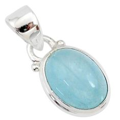 925 sterling silver 4.57cts natural blue aquamarine oval pendant jewelry r78336