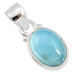 925 sterling silver 4.50cts natural blue aquamarine oval pendant jewelry r78340