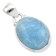 925 sterling silver 15.72cts natural blue aquamarine oval pendant jewelry t42754