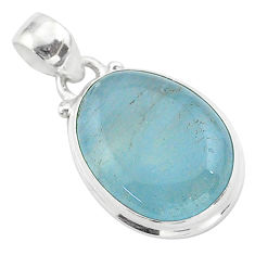 925 sterling silver 13.15cts natural blue aquamarine oval pendant jewelry t42757
