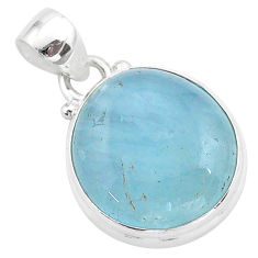 925 sterling silver 14.72cts natural blue aquamarine oval pendant jewelry t42777