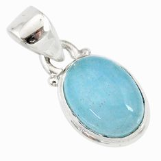 925 sterling silver 4.23cts natural blue aquamarine oval shape pendant r78317