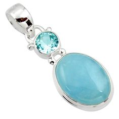 925 sterling silver 11.20cts natural blue aquamarine oval topaz pendant r39723