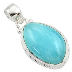 925 sterling silver 16.73cts natural blue aquamarine pendant jewelry d45508