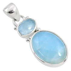 925 sterling silver 11.57cts natural blue aquamarine pendant jewelry r68104