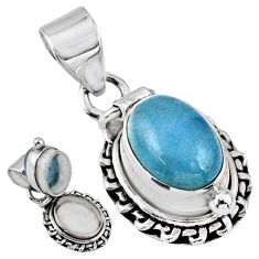 925 sterling silver 4.21cts natural blue aquamarine poison box pendant r55655