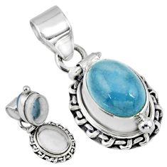 925 sterling silver 4.50cts natural blue aquamarine poison box pendant r55659